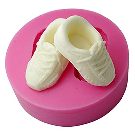 db5ddb17ab FOUR-C Silicone Cup Cake Mold Shoes Fondant Mould Color Pink  Amazon.co.uk   Kitchen   Home