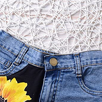 Baby Girl Clothes 2 Pieces Denim Shorts Outfits T-Shirt Cute Toddler with Kids Tops and Denim Set