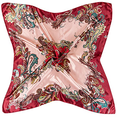X&F Women's Retro Prints Summer Stain Neckerchief Square Scarf 35