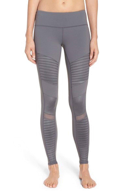 Alo Yoga Women's Moto Legging, Slate/Slate Glossy, XXS