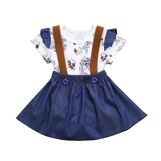 196cc2a1acdd Rucan Baby Girls Suspenders Skirt Set Floral Print Rompers + Denim Skirt  Overalls (White