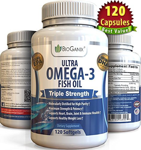 Ultra Omega-3 Fish Oil 2000mg Supplement /w 800 EPA + 600 DHA + Vitamin E (120 Softgels) Triple Strength Pharmaceutical Grade Natural Fatty Acids From Deep Blue Ocean Fish In Liquid Capsules - Muscle Farm Fish Oil
