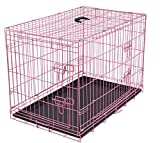 Internet's Best Double Door Steel Crates Collapsible and Foldable Wire Dog Kennel, 36 Inch (Medium), Pink For Sale