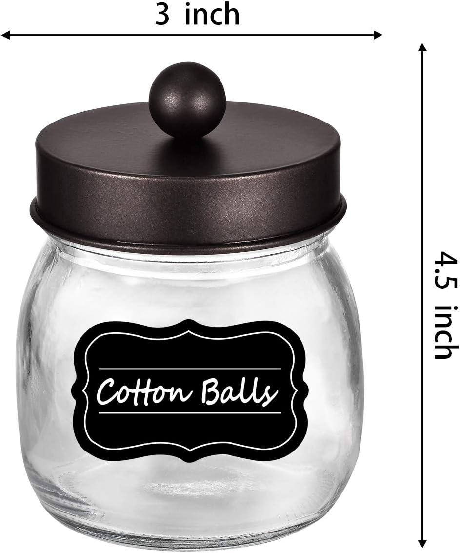 Rustic Farmhouse Decor Bronze Bathroom Accessories Qtip Dispenser Holder Canister Glass for Q-Tips,Cotton Swabs,Rounds,Ball,Flossers//Bronze Amolliar Mason Jar Bathroom Vanity Organizer