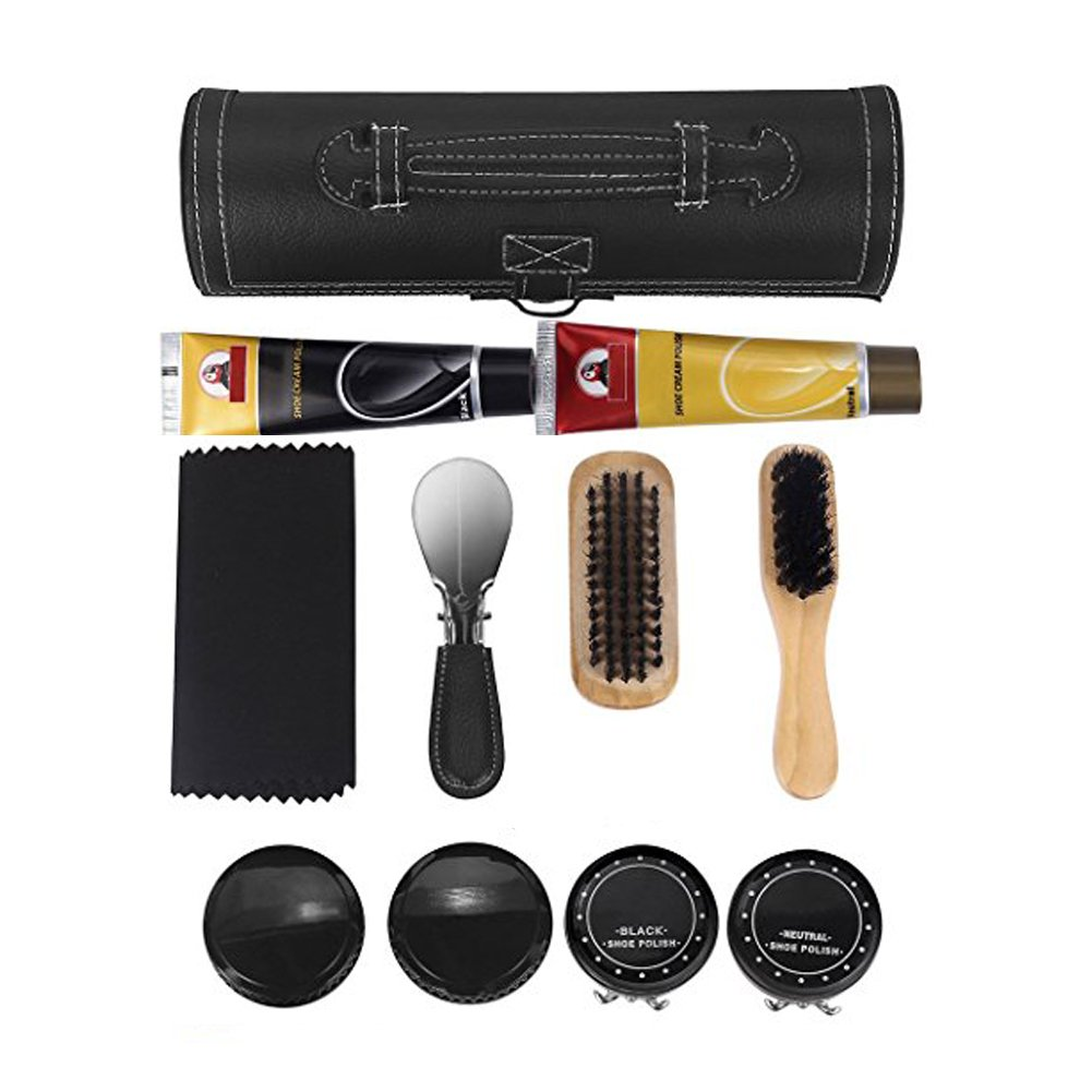 cheerfullus Leather Shoe Care Kit,8-Piece Portable Travel Shoe Shine Brush Kit with PU Leather Sleek Elegant Case
