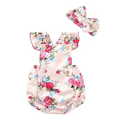 Girls' Baby Clothing Flower Headband 2pcs Cute Summer Clothing Baby Girl Sunsuit Set Adorable Clothes Floral Bodysuit Cute Baby Girls Attractive Designs;