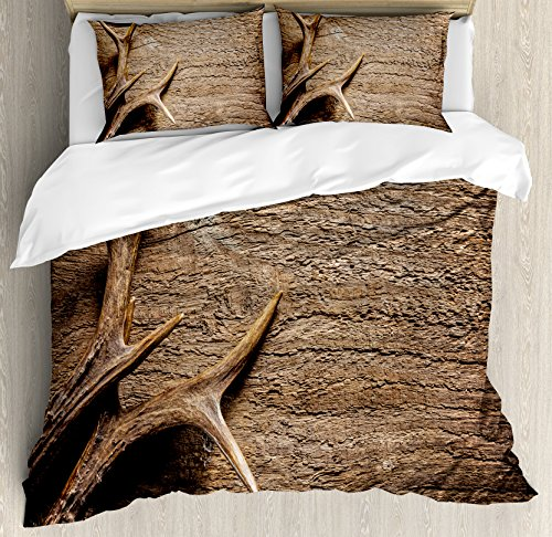 Antlers Decor Duvet Cover Set King Size by Ambesonne, Deer Antlers on Wood Table Rustic Texture Surface Hunting Season Decorating, Decorative 3 Piece Bedding Set with 2 Pillow (Deer Bed Set)