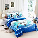 Norson Unique Cartoon Anime Hatsune Miku 3 Piece Bedding Sets for Teens,hatsune Miku Bedding Set,kids Cartoon Anime Bedding Sets Twin Full Size Bedding (4, Full)