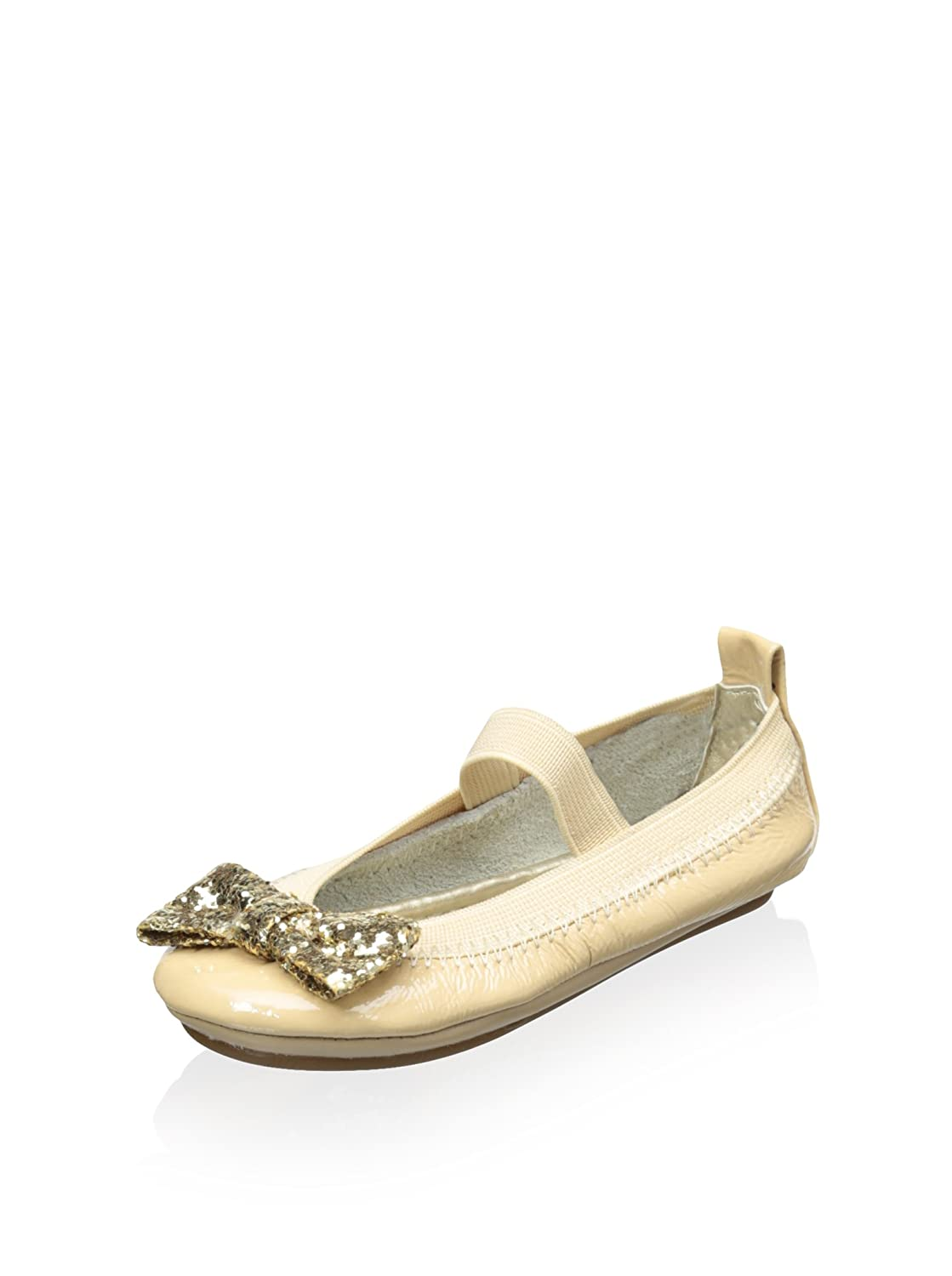 Yosi Samra Patent Leather Bendable Ballet Flat with Gold Chunky Glitter Bow 6C//Infant