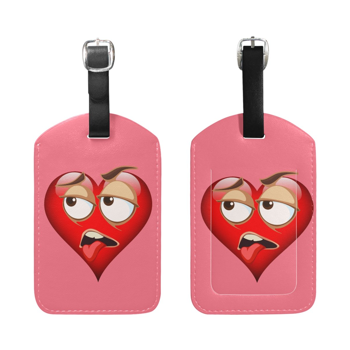 1Pcs Saobao Travel Luggage Tag Sweatful Emoji PU Leather Baggage Suitcase Travel ID Bag Tag