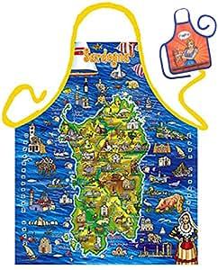 Italia Cerdeña Sardegna tarjeta Map–Fun Diseño Delantal–con un pequeño mini de delantal como Präsent