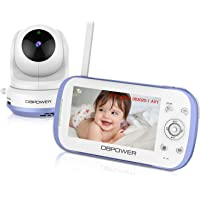 """DBPOWER Video Baby Monitor with 4.3"""" LCD Split Screen-Viewing Up to 4 Cameras, Long Range Two Way Talk, Night Vision, Support MicroSD Card(not Included), Pan-Tilt-Zoom, Lullabies, Temperature Monitor"""