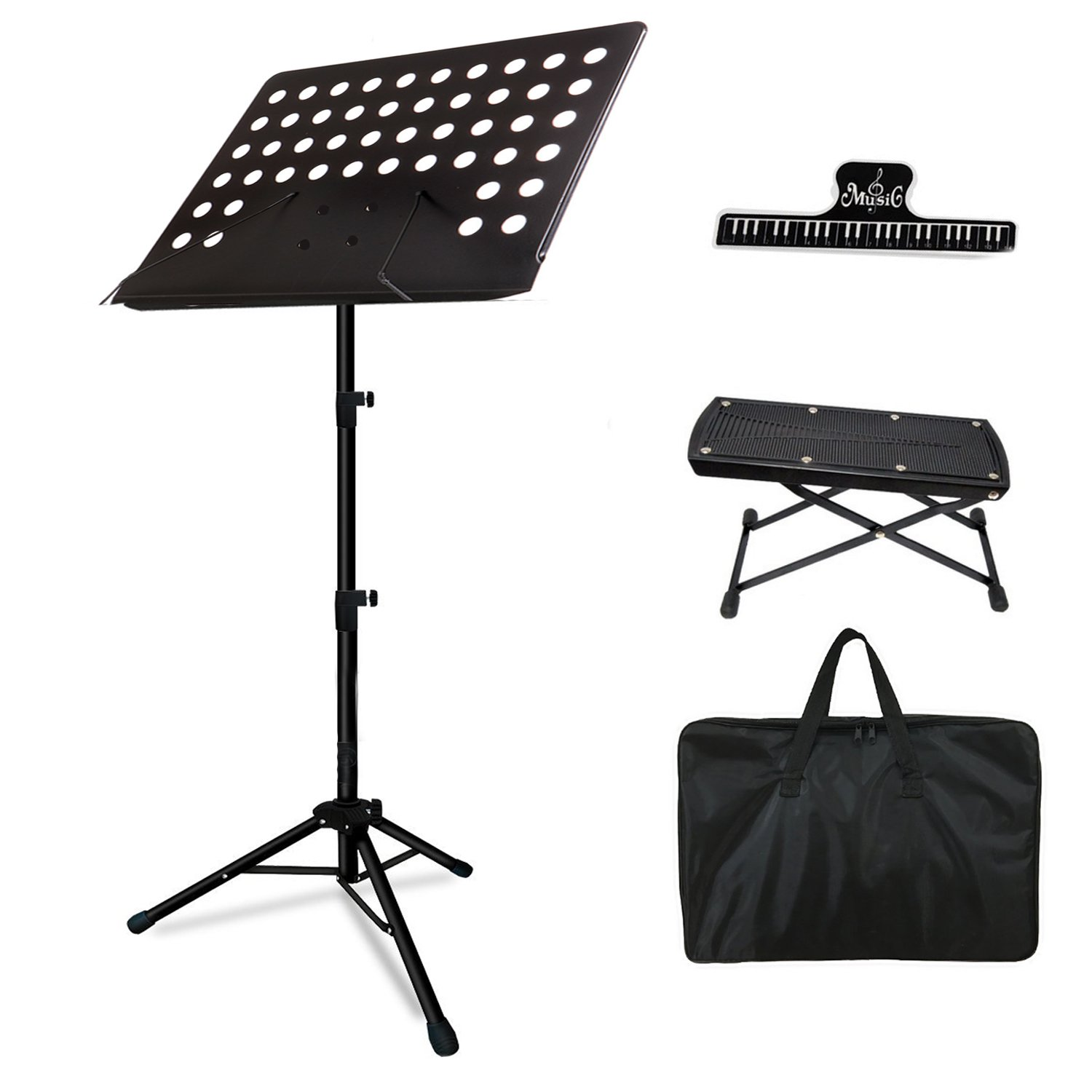 Music Stand, Professional Collapsible Music Stand for Music Sheet, with Music Book Clip, Guitar Footrest and Carrying Bag suitable for Violin, Guitar, Flute and Instrumental Performance