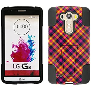 LG G3 Hybrid Case Yellow Pink Plaid 2 Piece Style Silicone Case Cover with Stand for LG G3