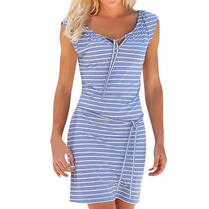 TWIFER Mode Boho Streifen Lange Mini Kleid Strandkleider Sundress ...