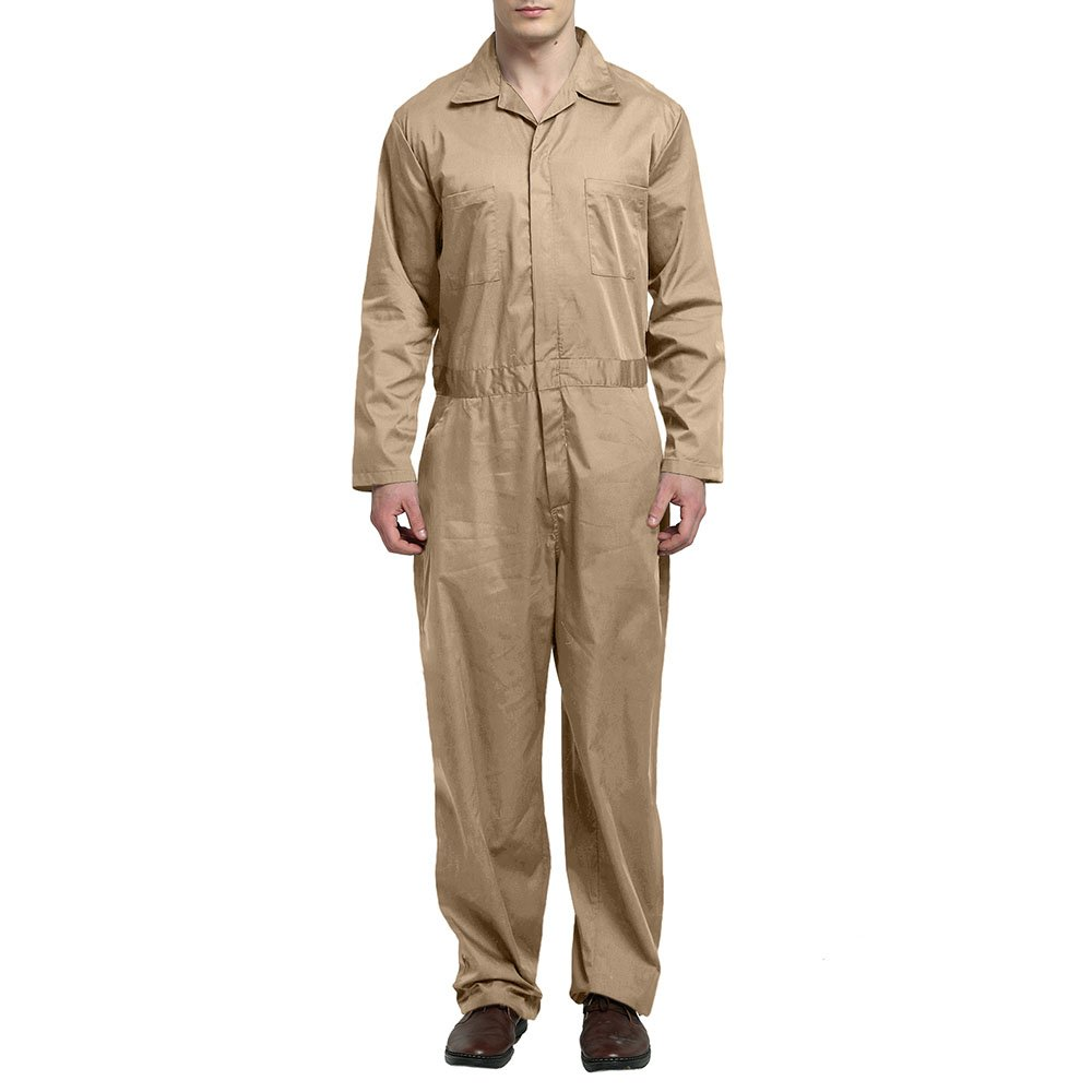 TopTie Men's Basic Long Sleeve Twill Zip-Front Coverall, Khaki, XL
