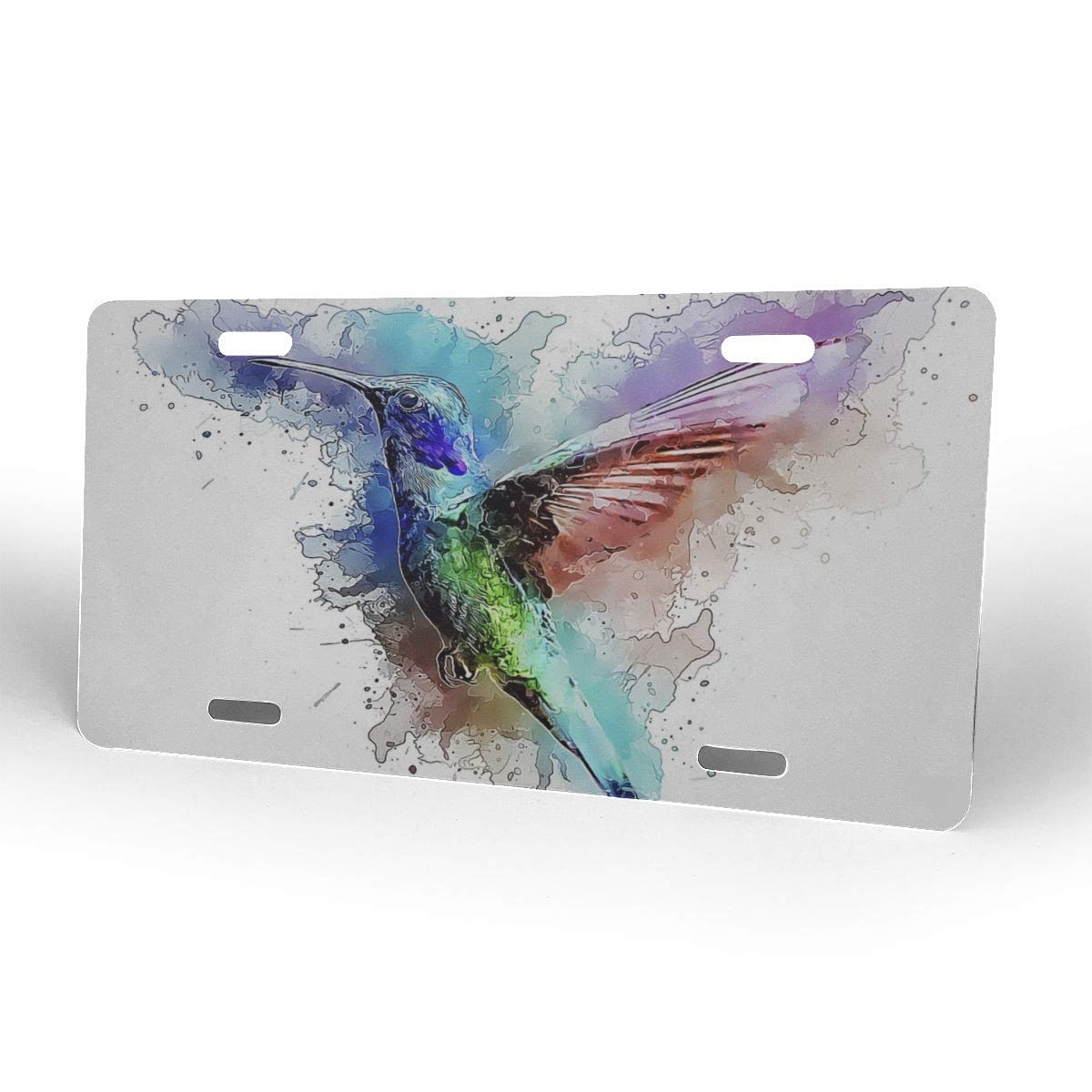 4 Hole Custom Decorated License Plate Vanity Tag Aluminum Car Accessories Novelty Personalized License Plate Cover Hummingbird Bird Trochilidae Fly Spring Dress Print Car Tag Printer 6x12 in