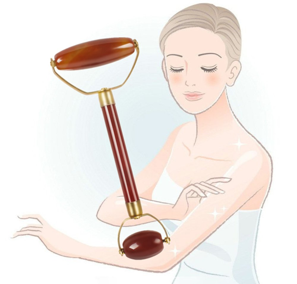 Ovovo Agate Jade Roller Massager for Face,Neck and Eye Skin Face Slimming Tool - Rejuvenates Face and Neck Skin, Face Slimmer