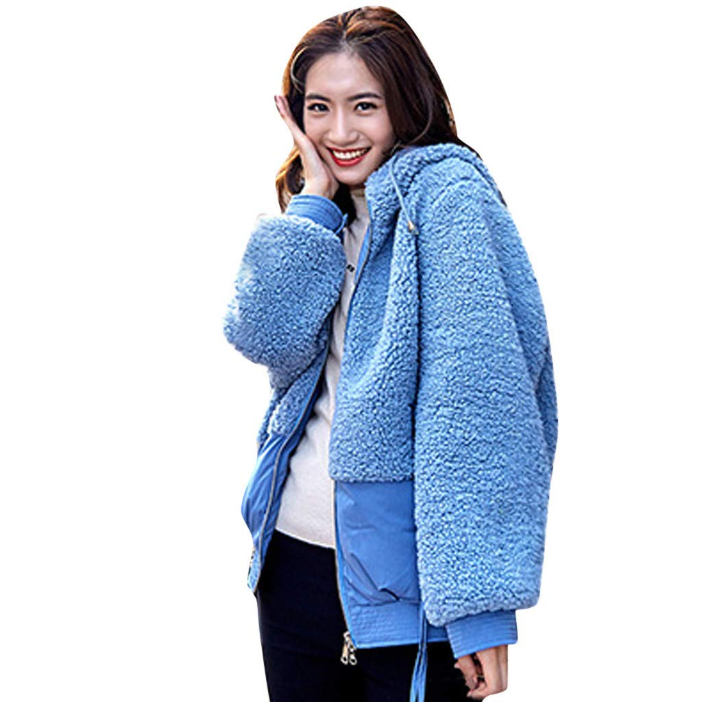 Fashionhe Women Outwear Lamb Hair Coat Hooded Patchwork Embroidery Coat Plush Jacket Overcoat(Blue.XL) by Fashionhe