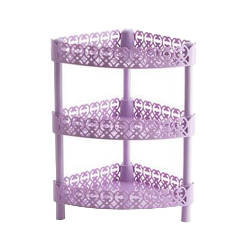 JINBEST Storage Shelves 3 Tier Plastic Bathroom Sink Corner Rack Multilayer Organizer Shelves Kitchen Storage Rack Holder (Purple, B)