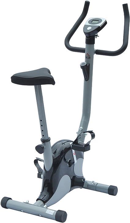 Bicicleta estática ejercicio fitness Cardio con contador LCD sillín altura ajustable acero plata y negro Neuf 96BK: Amazon.es: Deportes y aire libre