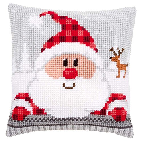 (Vervaco Santa in a Plaid Hat Pillow Cover Needlepoint Kit)