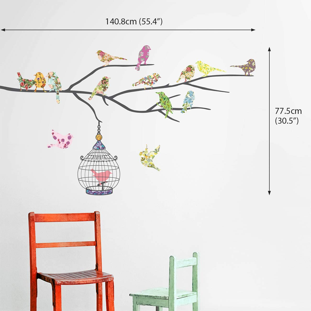 Brown DECOWALL DW-1510BR Birds on Tree Branch with Bird Cages Kids Wall Stickers Wall Decals Peel and Stick Removable Wall Stickers for Kids Nursery Bedroom Living Room