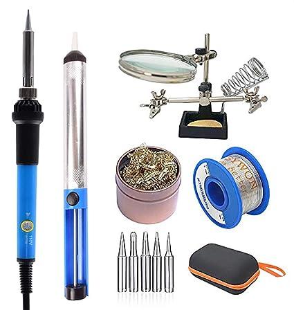 Electrónica del kit de soldador, 60W de temperatura ajustable, lupa, soldadura, colofonia