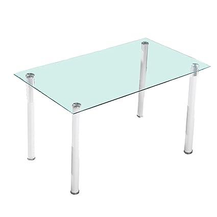HomeSouth - Mesa de comedor Blanca , mesa de cristal para cocina ...