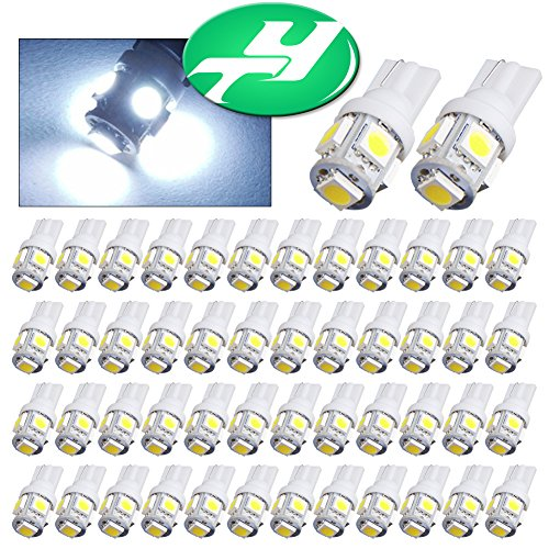 YINTATECH T10 5 SMD Cool White LED Car Lights Bulb 194 168 2825(Pack of 50)