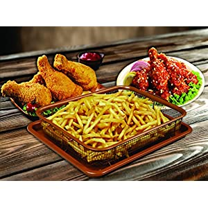 Deluxe Red Copper Crisper - 2 Pieces Nonstick Oven Air Fryer Pan / Tray & Mesh Basket Set - Air Fryer in Oven As Seen on TV - Ideal for French Fry - Frozen Food , Baking Sheet without Oil by WHG