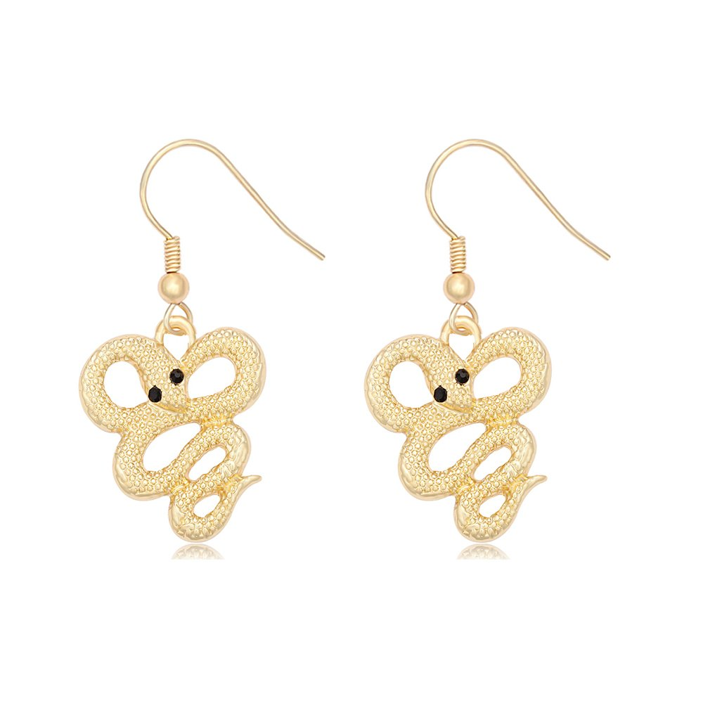 TUSHUO Snake Necklace Earrings Simple 3 Colors Gold Plated Black Eye Snake Pendant Jewelry (Earring Gold)