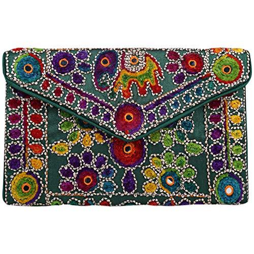 Brazeal Studio Collection Women's Ethnic Embroidered Envelope Clutch Fashion Evening handbag purse ()