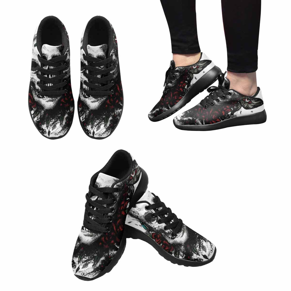 InterestPrint Women's Jogging Running Sneaker Lightweight Go Easy Walking Comfort Sports Running Shoes Watercolor Skull With Flowers 6 B(M) US