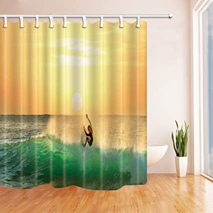 Nyngei Surfer On Waves At Sunset Shower Curtain Mildew Resistant Polyester Fabric Bathroom Decorations Bath Curtains
