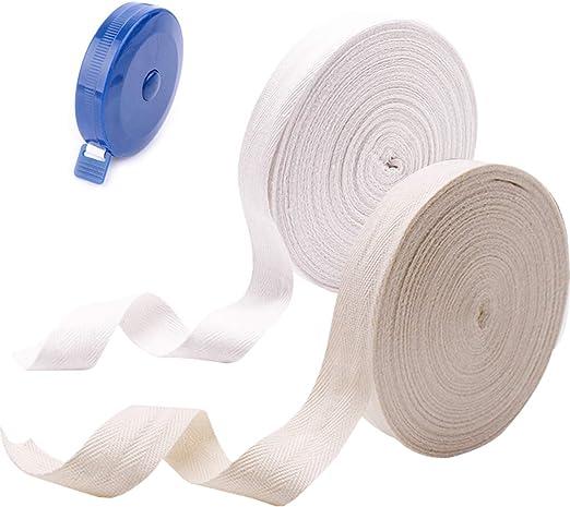 Cinta de algodón Cinta adhesiva al sesgo, Cinta de sarga Cinta de empavesado, para coser Delantal artesanal de alteraciones de la confección, 25 metros 25 mm, blanco natural (beige) y blanco: Amazon.es: