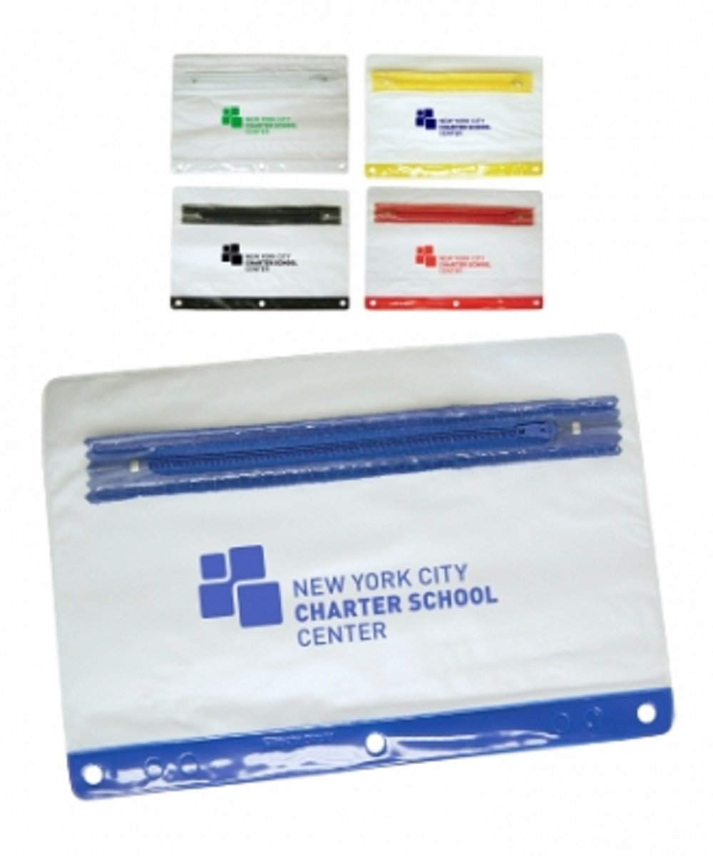 175 Personalized Frosted 3-Ring Pencil Case Printed With Your Logo or Message