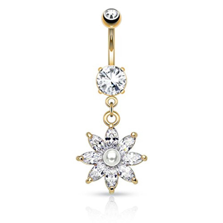BodyJ4You Crystalline Fancy Flower Dangle Belly Button Ring BN1402-GO