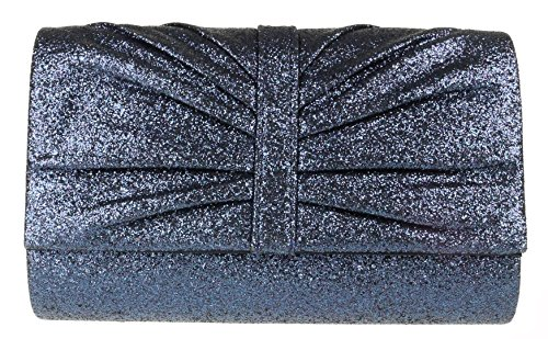 Girly HandBags Navy Glitter Girly HandBags Clutch Pleated Bag 5P8qn4wE