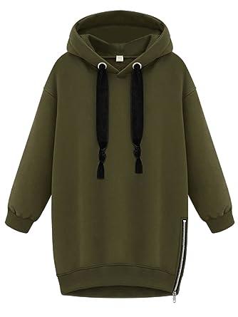 8d56a740ea SheIn Women's Long Sleeve Zipper Loose Pullover Hoodie - Army Green Medium
