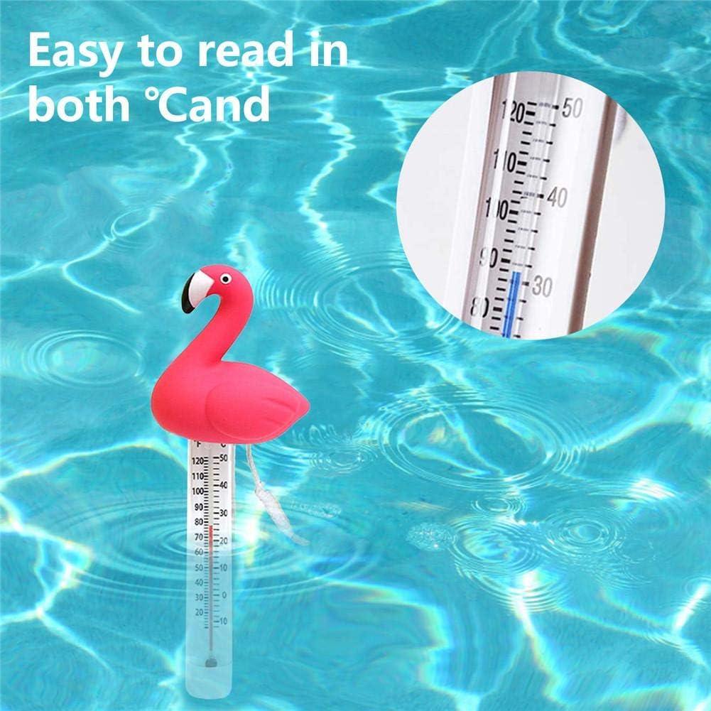 Schwimmendes Schwimmbad-Thermometer Flamingo Langlebiges Cartoon-Teich-Wasserthermometer Baby-Pool-Thermometer Bruchsicherer Temperaturmonitor