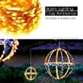 Veryredtek LED String Lights 66ft 200 LEDs , Waterproof Starry Lights for DIY Bedroom, Patio, Garden, Gate, Yard, Party, Wedding and Christmas(Copper Wire Lights, Warm White)