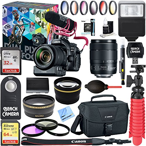 Canon EOS 80D Video Creator with 18-135mm Lens, Rode VideoMic + 64GB Extreme SDXC Memory UHS-I Card + LP-E6 Rechargeable Battery + Accessory Bundle
