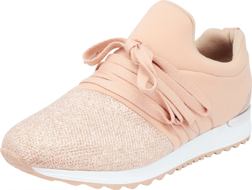 Cambridge Select Women's Low Top Closed Toe Lace-up Lightweight Glitter Crystal Casual Sport Fashion Sneaker B07DFR7YLT 8 M US|Nude