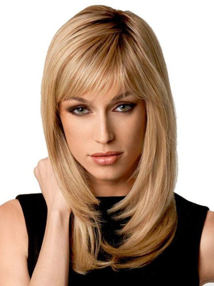 Natural Ombre Blonde Straight Wigs - Auflaund 21 Inch Long Straight Blonde  Hair Wigs With Darker Root For Women + Wig Cap