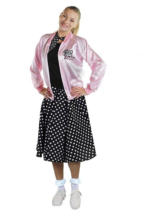 Déguisement accessoires pour adulte Rock n Roll des années 50 s avec un  blouson rose (Small) + une jupe longue noire à pois blancs (36 40). ce73870f968c