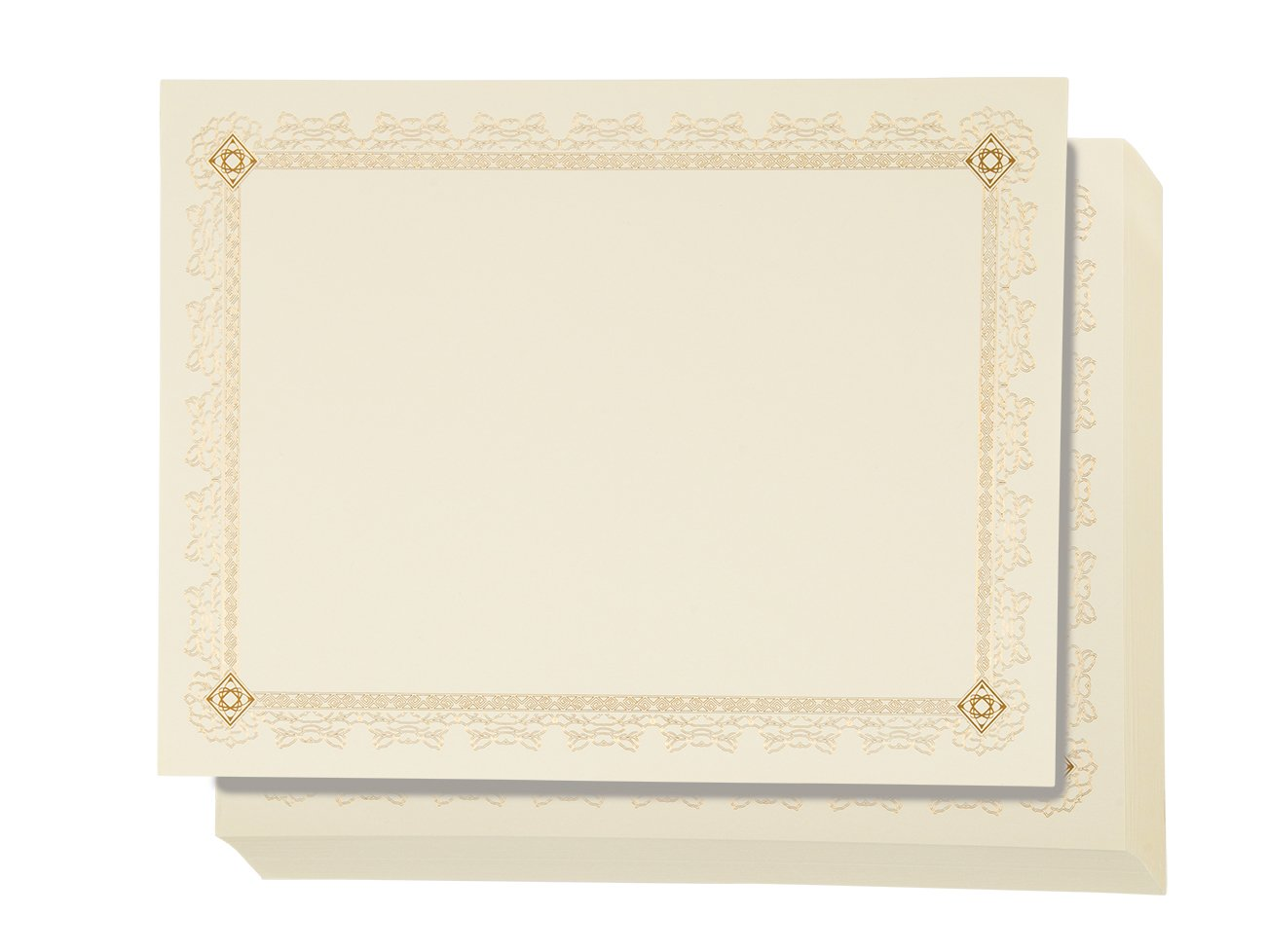 48 Pack Certificate Papers - Letter Size Blank Award Certificates Paper, Gold Foil Leaves Border Specialty Recognition Diploma Paper, Laser and Inkjet Printer Friendly, Gold, 8.5 x 11 inches