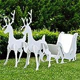 Teak Isle Large Christmas Outdoor Santa Sleigh and 2 Reindeer Set