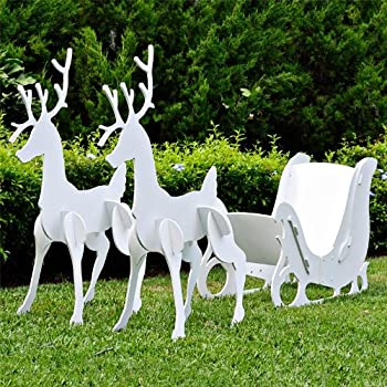 teak isle large christmas outdoor santa sleigh and 2 reindeer set