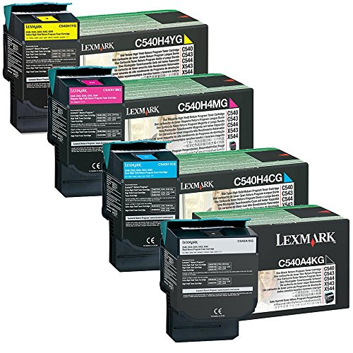 Lexmark C540A4KG Standard Yield Black with C540H4CG, C540H4MG, C540H4YG High Yield Color Toner Cartridge Set - Lexmark C543